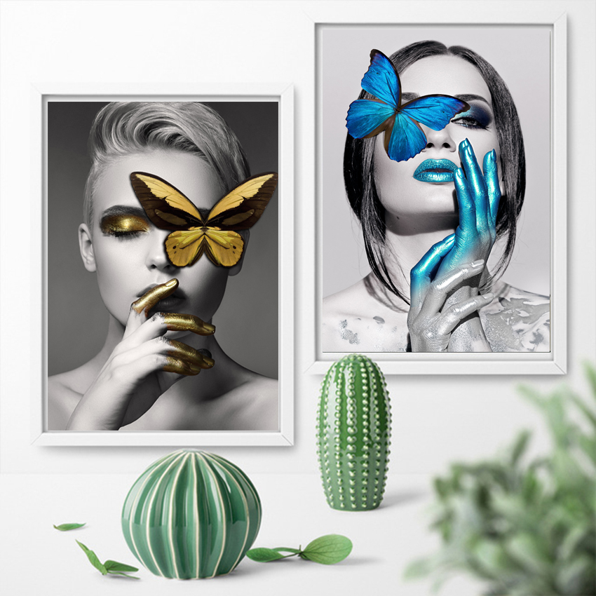 HD Nordic Style Abstract Butterfly Girl Canvas Painting Wall Art Pictures For Living Room Modern Home Decor Posters And Prints