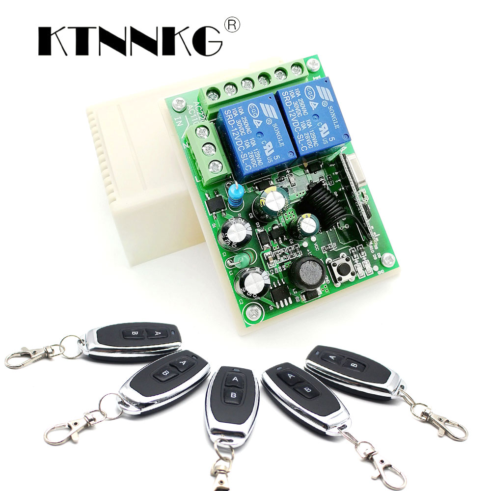 AC 110V 220V 433mhz Wireless Remote Switch Home Automation Module Controller 2CH Relay Receiver And 433Mhz RF Transmitter