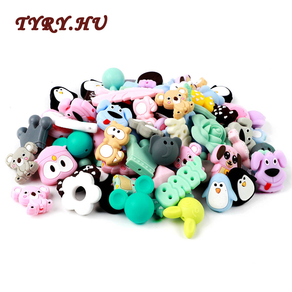 TYRY.HU 2PC Food Grade Silicone Beads Cute Cartoon Animal Mini Unicorn Penguin Puppy Koala Elephant Baby Teething Beads BPA Free