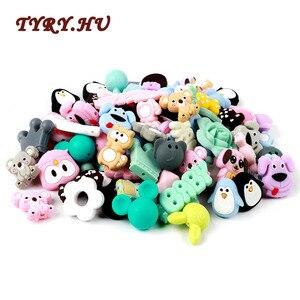TYRY.HU 2PC Food Grade Silicone Beads Cute Cartoon Animal Mini Unicorn Penguin Puppy Koala Elephant Baby Teething Beads BPA Free(China)