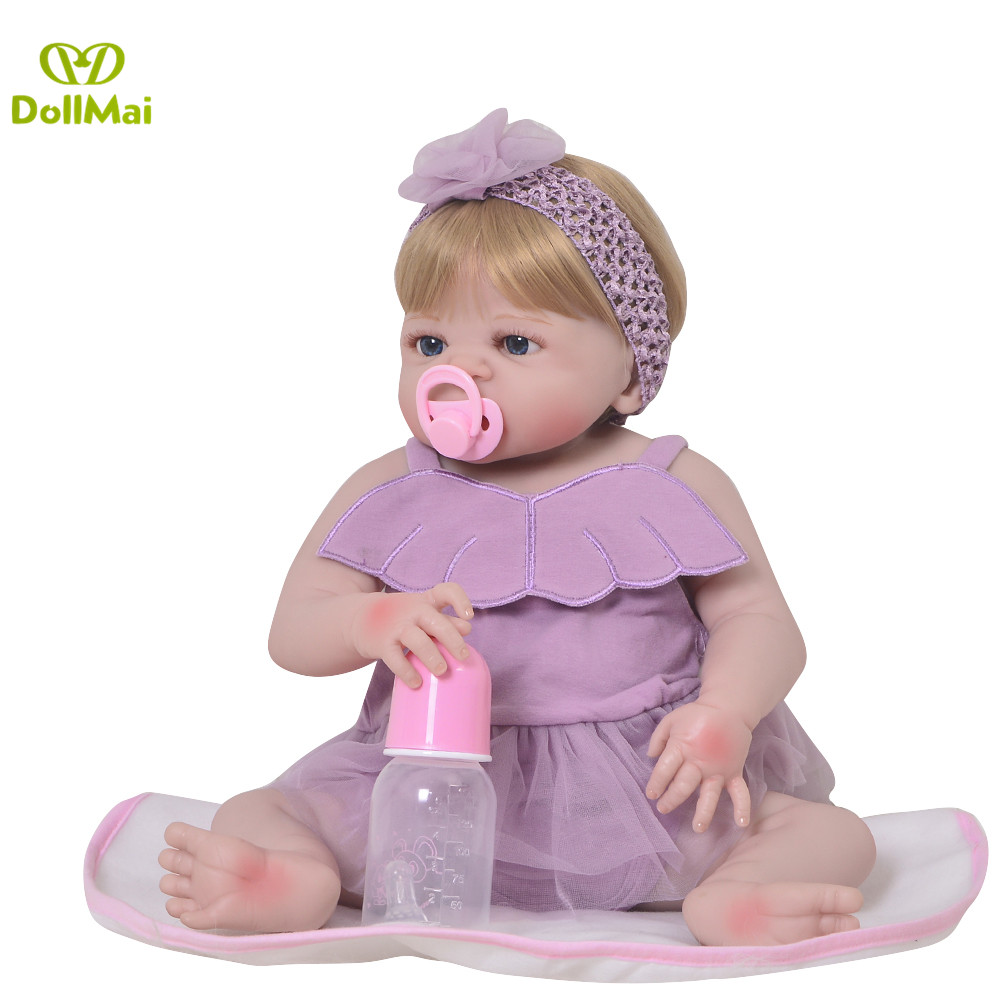23 Inch Bebes Reborn menina Doll Full Silicone Vinyl reborn baby dolls Realistic Girl Princess Baby Toy Doll For Children Gifts23 Inch Bebes Reborn menina Doll Full Silicone Vinyl reborn baby dolls Realistic Girl Princess Baby Toy Doll For Children Gifts
