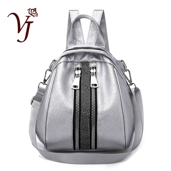 цена на Stylish Female Small Backpack Women Leather School Teenager Girls Travel Shoulder Bag Silver Back Pack 3 in 1 mochilas mujer