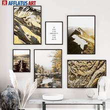 Golden Mountain Forest Canyon Hills Quote Wall Art Canvas Painting Nordic Posters And Prints Pictures For Living Room Decor