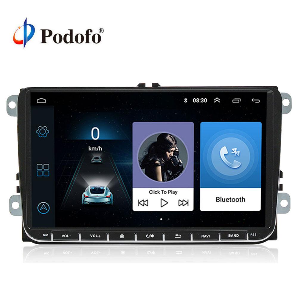 Podofo 9 Android 6.0 Voiture GPS Navigation Multimédia Lecteur 2 din Radio pour VW Passat Golf MK5 MK6 Jetta t5 EOS POLO Touran Siège