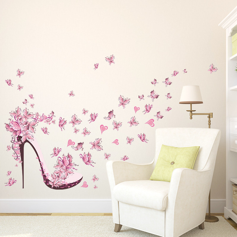 % shoes pink butterfly flowers Window stickers home decor living room bedroom girls gift new year Girl Room Decor Poster Mural