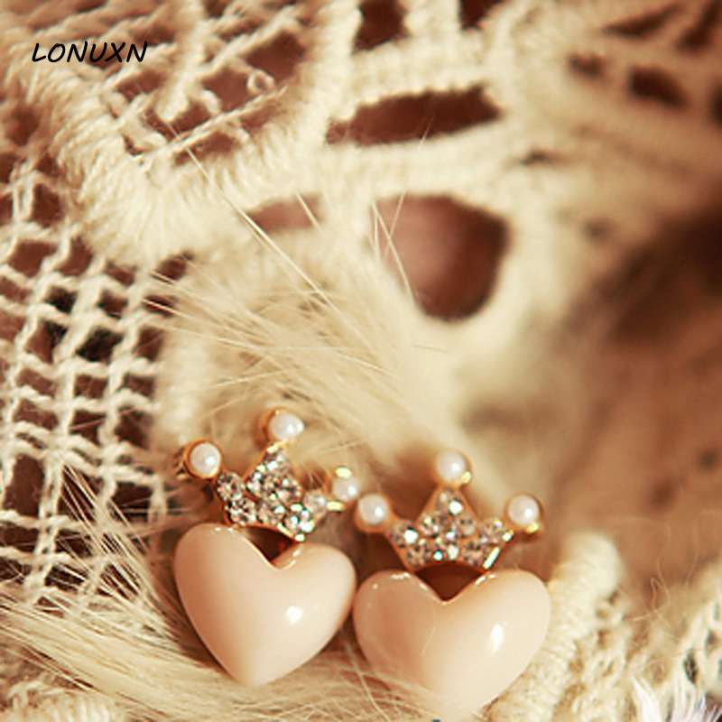 High quality Korean style fashion fresh peach pink love lovely cute heart shape gold earrings girls crown lovers gift