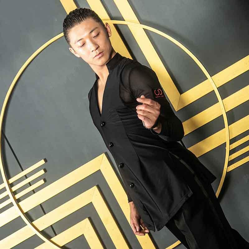 Latin Dance Tops New Men Ballroom Competitive Shirts Black Long Sleeve High Quality Stretch Shirt Performance