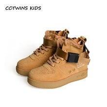 6c3ce20a31 Trainer CCTWINS CRIANÇAS 2018 Outono Crianças Couro Real Baby Girl Moda de  Alta Top Sneaker Menino Esporte Ocasional Sapato Pret.