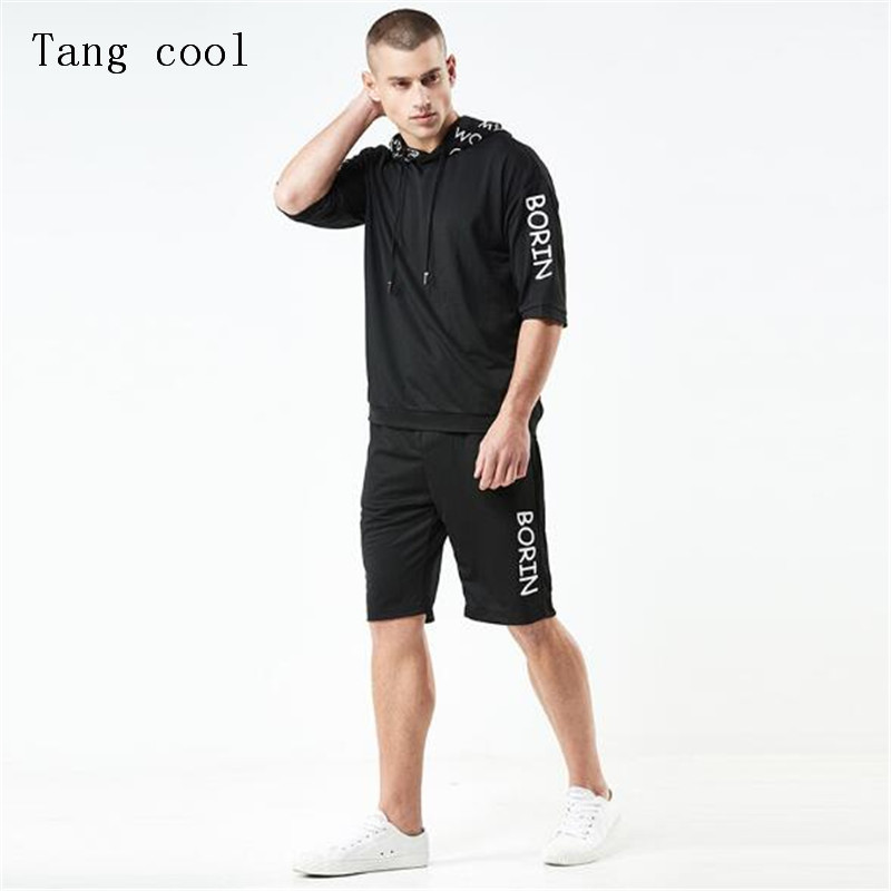 Tang cool 2018 Two Piece Track Suit For Men Hooded Sweatshirt + Pants Mens Sweat Suits Brand Tracksuit Mens