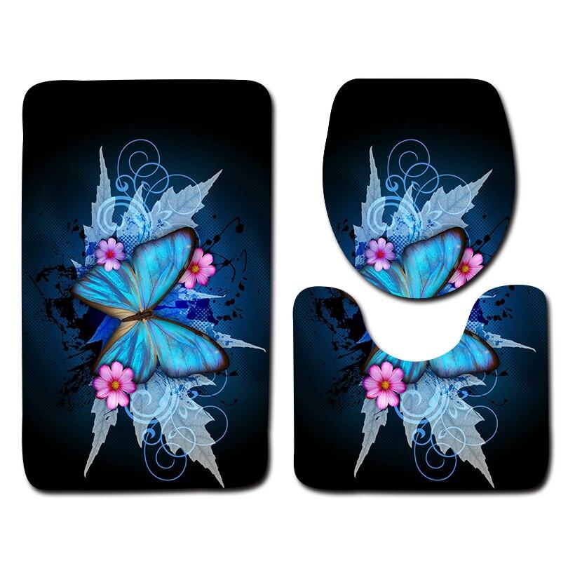 3pcs Memory Foam Mat for Bathroom Anti Slip Floor Mat Dark Blue Background Butterfly Pattern Bathroom Rugs