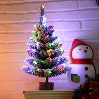 XMAS Gift 45CM High Table XMAS Tree Decoration Wood Fiber Optic Christmas Tree With Ornament For