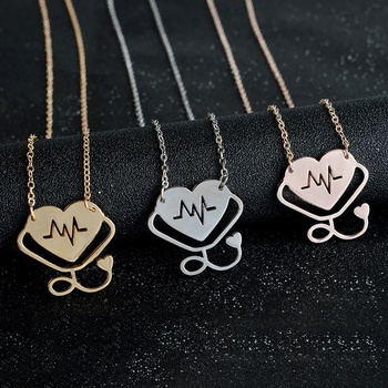 2018 New Stethoscope Love Heart Nurse Doctor Necklace EKG Heartbeat Pendant Necklace Nursing Jewelry Medicine Graduation Gift