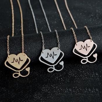 2018 New Stethoscope Love Heart Nurse Doctor Necklace EKG Heartbeat Pendant Necklace Nursing Jewelry Medicine Graduation Gift