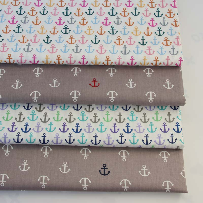 100% cotton twill cloth marine style color gray anchor fabric for DIY crib bedding cushion sheet apparel quilting handwork decor