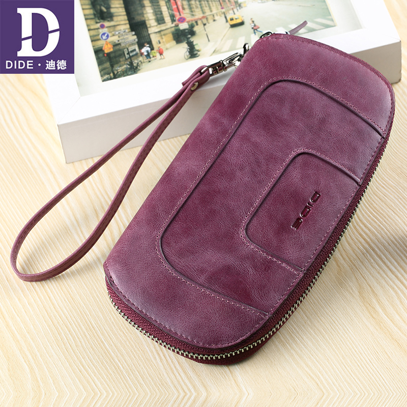 DIDE Genuine Leather Long wallet Women's handbags clutch Wallet Female Zipper Large capacity clutch bag multi-card bit 698 zuoyi crocodile leather original zipper snap multifunctional in large capacity and long wallet