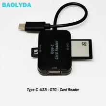 Baolyda tipo C y micro USB y USB 3 en 1 lector de tarjetas OTG de alta velocidad USB2.0 Universal OTG TF/SD para ordenador Android
