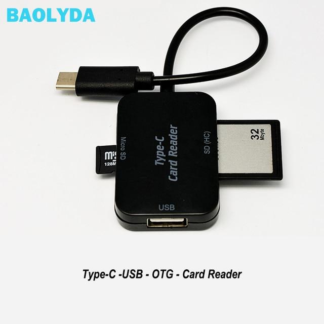 Baolyda typ C i micro USB i USB 3 w 1 czytnik kart OTG szybki USB2.0 uniwersalny OTG TF/SD na komputer z systemem android