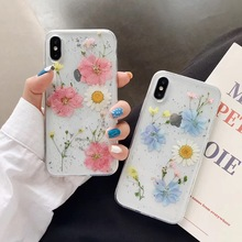 Tfshining Real Dried Flower Glitter Cases For iPhone X 6 6S Plus XR XS Max Transparent Soft Bling Covers 7 8
