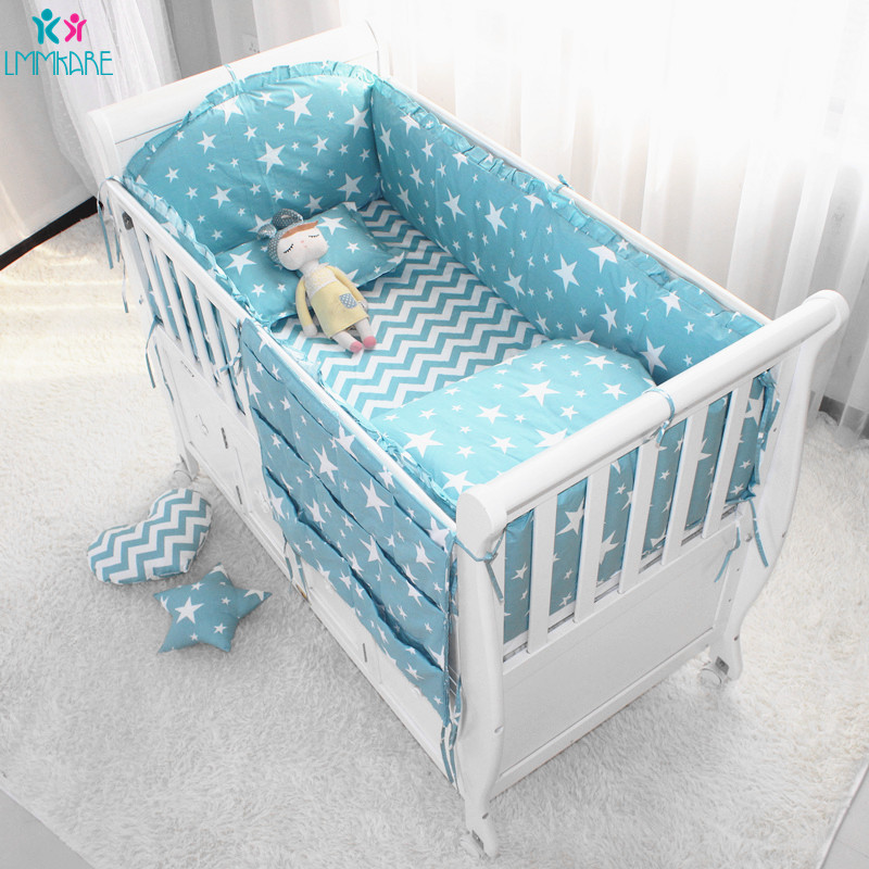 2020 Cotton Breathable Baby Crib Bumper Pads Crib Liner Cot Sets For Baby Boys Girls Safe Bumper Guards Crib Rail Padding 6Pcs