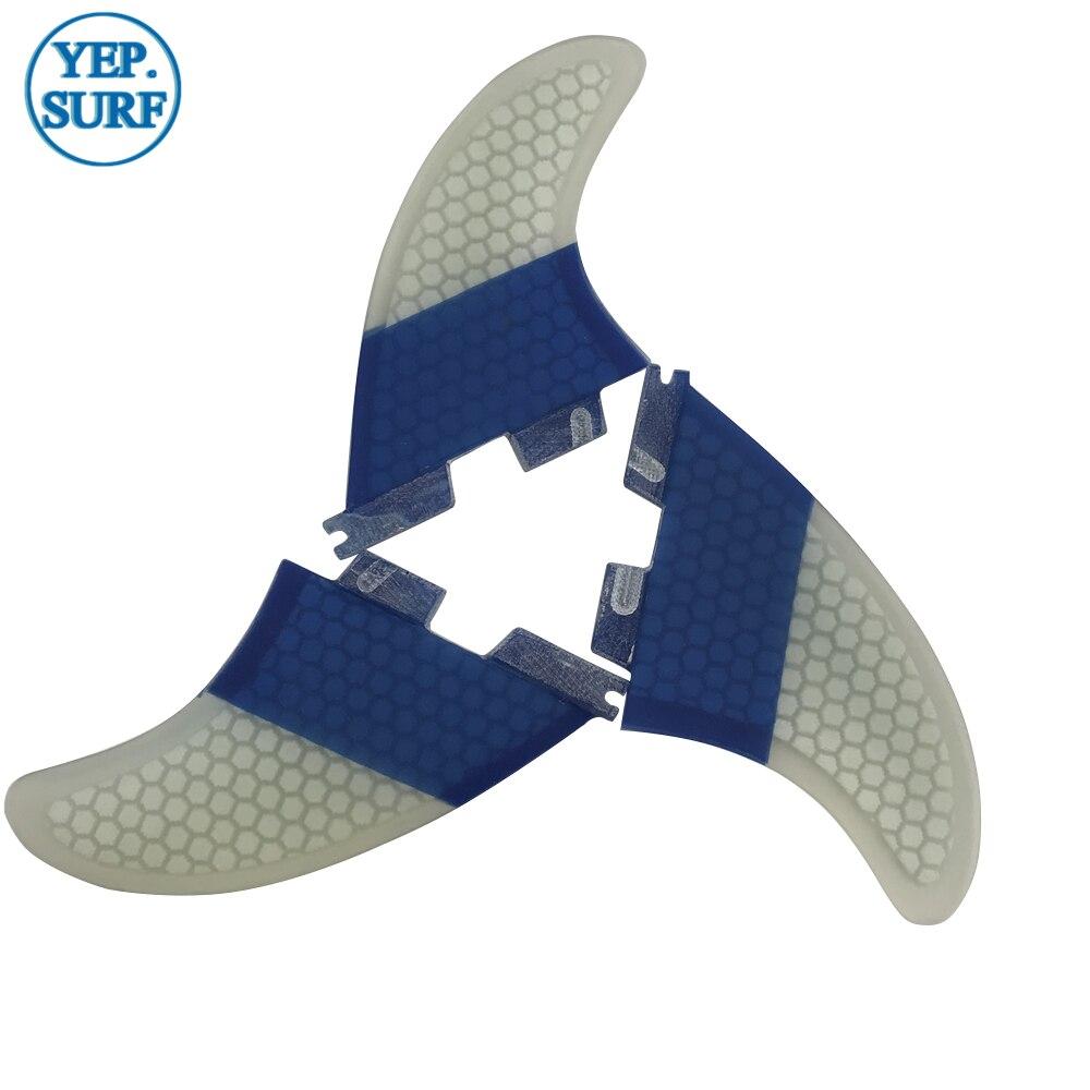 Aletas de tabla de Surf FCS2 K2.1 aletas tri-quad Surf FCSII color azul y blanco Quilhas aletas de panal - 3