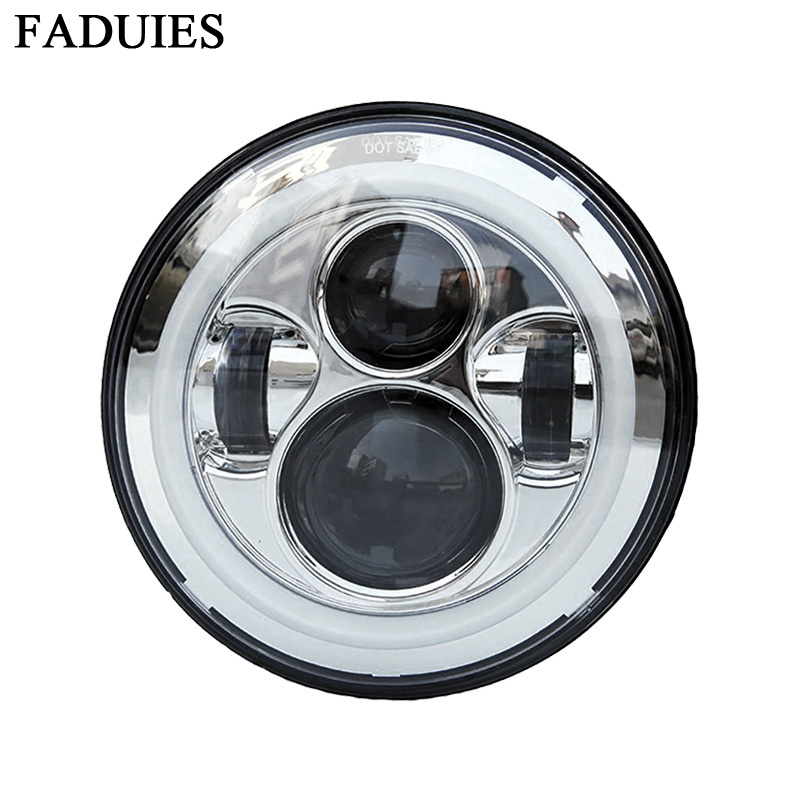 FADUIES Harley Motorcycle Chrome 7 in. Daymaker Projector LED Headlamp Headlight With white DRL For Harley Touring Trike partol 7 round led projector black headlight pc lens with drl for h d fld trike touring softail flhtcuse 7 sealed beam