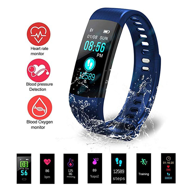 Y5 Smart Fitness Bracelet Watch Waterproof With Pressure Measurement Sport Pedometer Step Counter Activity Tracker for Android