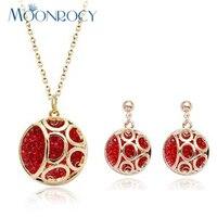 MOONROCY Darmowa Wysyłka Zirconia biżuteria hurtownie Red Rose Złoty Kolor Fioletowy Kryształ Naszyjnik i Kolczyki zestaw Biżuterii Prezent