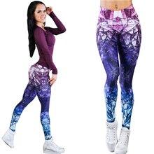bfac3197d87e8 Femmes Yoga Pantalon Haute Élastique Fitness Sport Leggings Collants Mince  de Course de Sport Violet Imprimer Séchage rapide For.