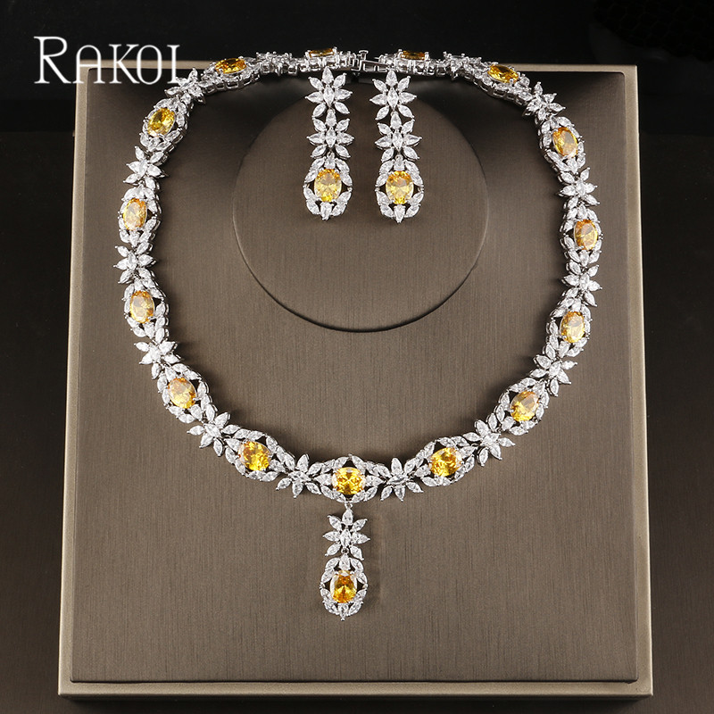 RAKOL célèbre marque Bbrilliant cristal Zircon boucles d'oreilles colliers ensemble de bijoux de mariée femmes robe de mariée accessoires RS2007
