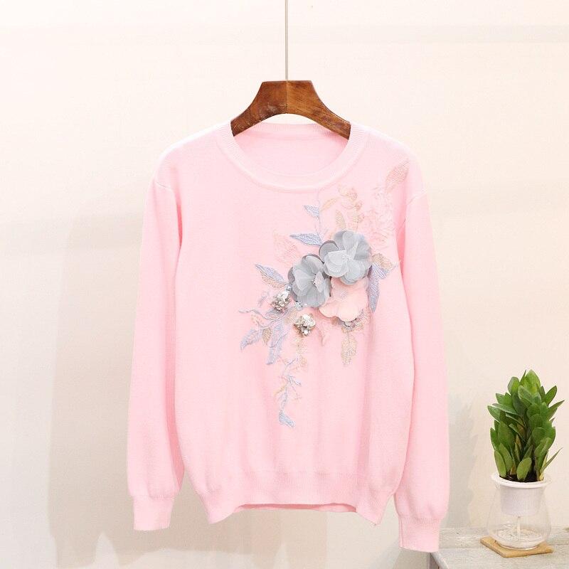 c5f87803b 2018 autumn winter 2 pieces jeans suits 3d floral Embroidery knit ...