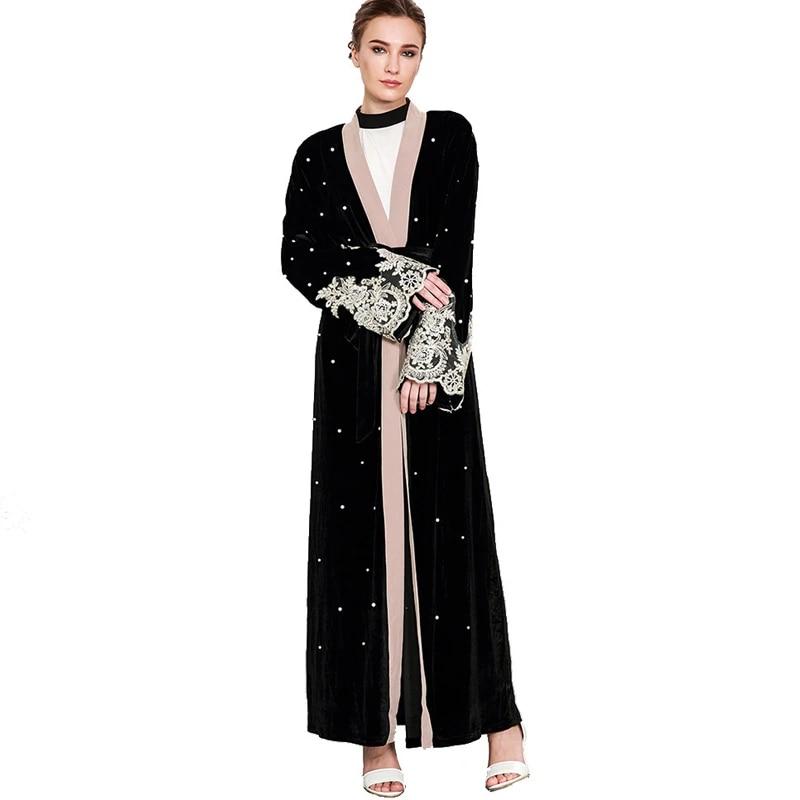 2019 Abaya Dubai Velvet Lace Pearls Cardigan Hijab Muslim Dress Jilbab Robe Abayas For Women Kaftan Turkish Islamic Clothing Islamic Clothing Aliexpress