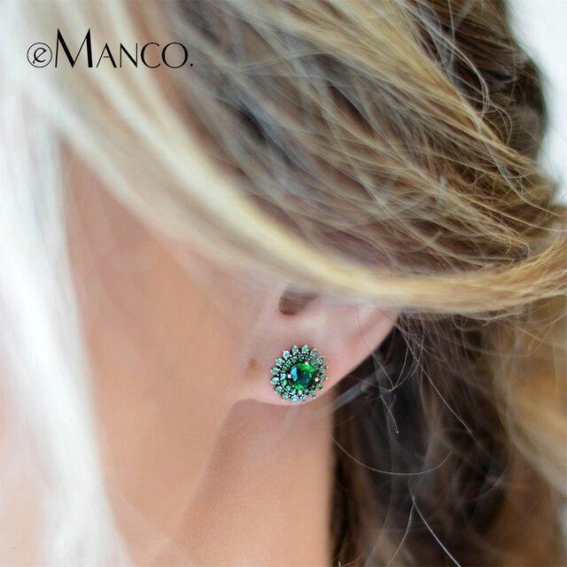 e-Manco 925 Sterling Shining Green Zircon Earring Wholesale Fashion Flower Glitt
