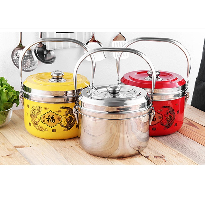 High Quality 304 Stainless Steel Cooking Pot With Steamer 3 Color Available & 2 Lids And 2 Pot Inner For Cooking Outer For Warm multifunctional cooking pot soup pot steamer with stainless steel steamer diameter 20cm for electromagnetic furnace gas stove