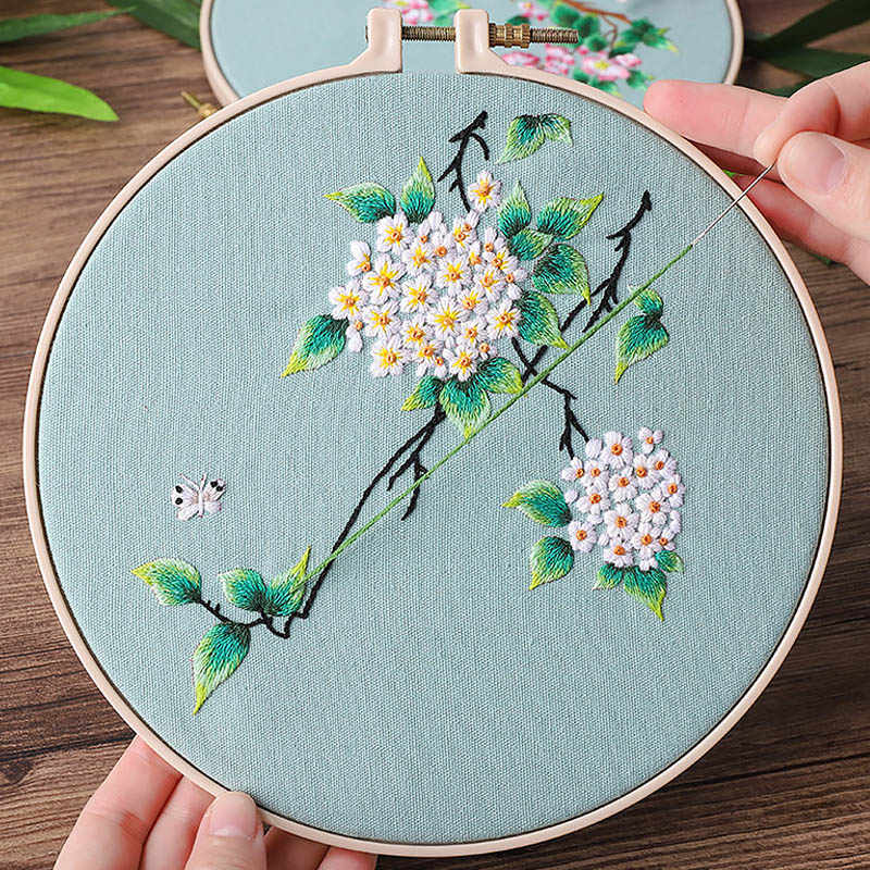 Chinese Flower Embroidery Cross Stitch Kits With Embroidery Hoop Needle Handmade Arts Crafts Sewing Painting Home Decor Aliexpress