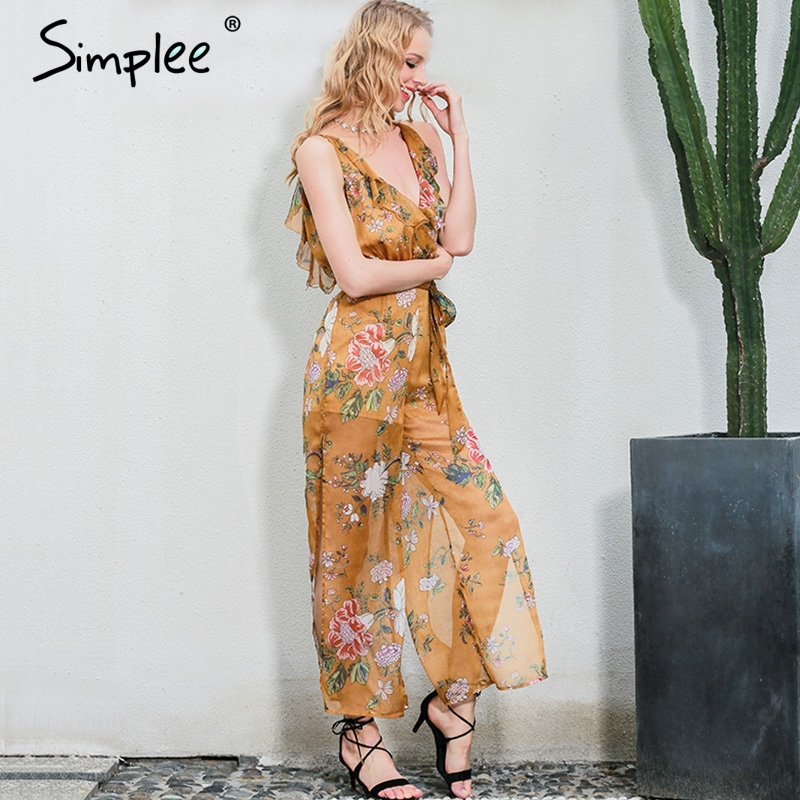 Simplee Sexy V Neck Print Flower Women Jumpsuit Romper Boho Ruffle Chiffon Summer Overalls Backless High Waist Split Playsuit