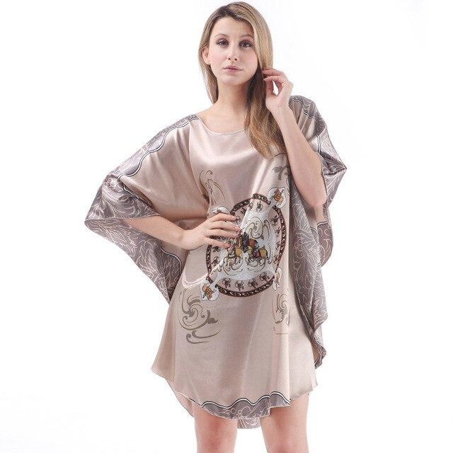 Best sale batwing sleeve women nightwear America   Europe pijamas femininos  inverno ladies silk nightgown free dropshipping e769e297d