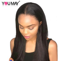 Full Transparent Lace Wig Human Hair With Baby Hair 130% Brazilian Straight Full Lace Wig For Women You May Remy Hair