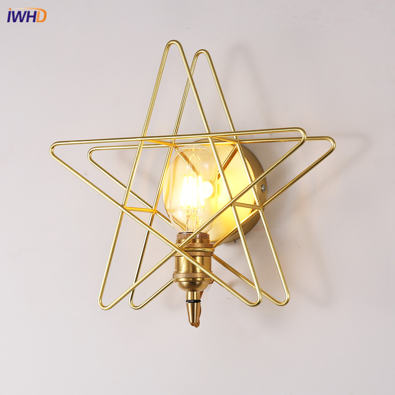 IWHD Nordic Simple Brass Copper Wall Lamp Modern Star LED Wall Light Fixtures For Home Lighting Bedside Arandela LuminaireIWHD Nordic Simple Brass Copper Wall Lamp Modern Star LED Wall Light Fixtures For Home Lighting Bedside Arandela Luminaire