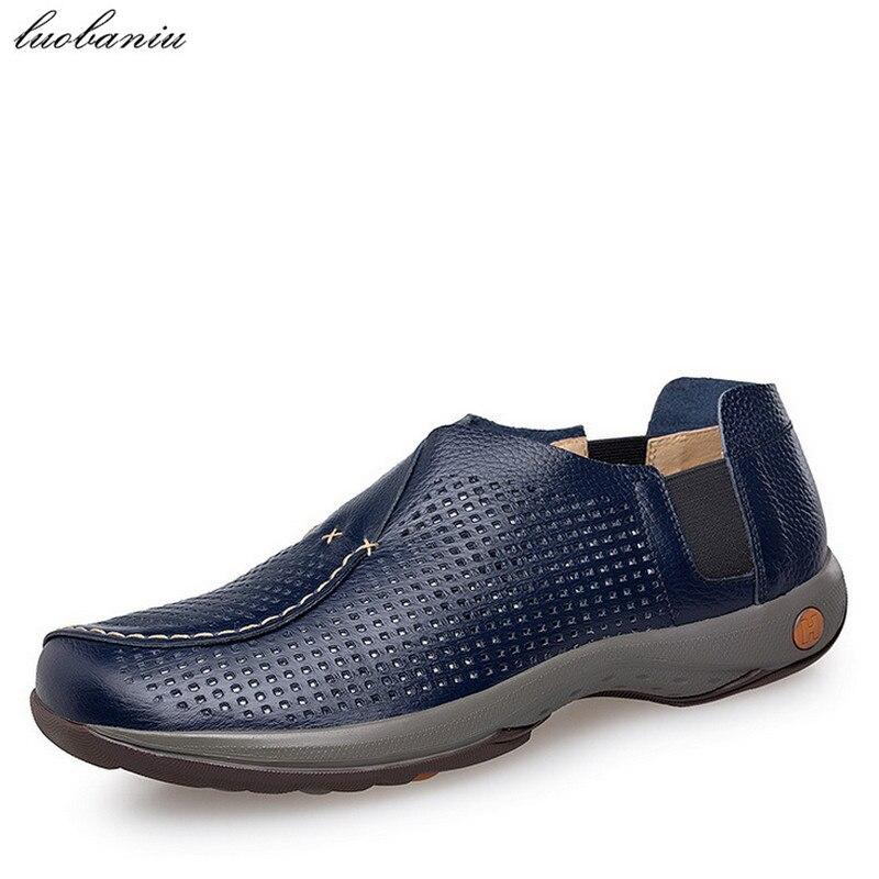 38-47 Genuine Leather Men Shoes Casual Breathable Moccasins Men Loafers Plus Size Blue Black cyabmoz plus size 38 47 fashion men shoes breathable casual moccasins men loafers high quality genuine leather shoes men flats