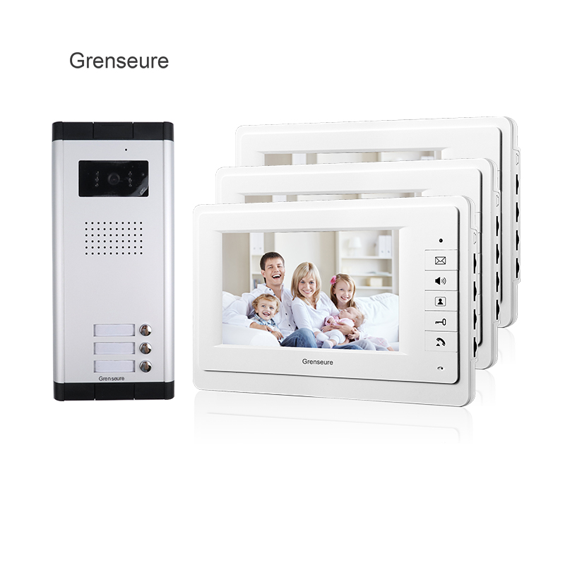 FREE SHIPPING Apartment 7 Video Intercom Door Phone System 3 Monitor + 1 HD Doorbell Camera for 3 Household Apartment Wholesale free shipping brand 7 inch video intercom door phone system 2 monitor 1 hd doorbell camera for 2 household apartment wholesale