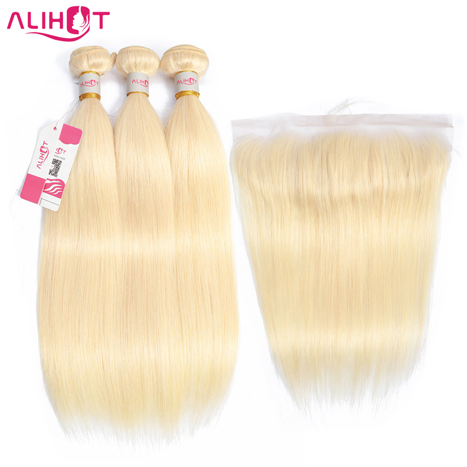 Ali Hot 613 Blonde Color Brazilian Straight Hair 3 Bundles With 13 4 Frontal Remy Hair