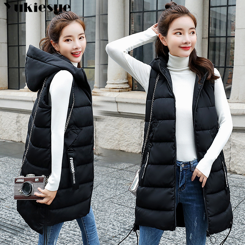 New winter thicken warm cotton down vest for women fashion loose version long sleeveless coat women's veste femme ladies