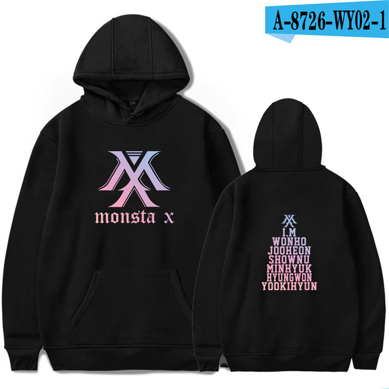 Monsta X Hoodie Kpop Clothing Sweatshirt Womens Clothes Harajuku Hoodie Oversized Pullover Black Long Sleeve Cotton(China)