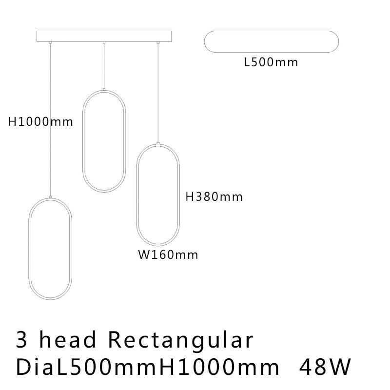 Negro/blanco Color moderno led colgante luces para sala comedor acrílico cuerpo de aluminio colgante LED lámpara envío gratis - 5