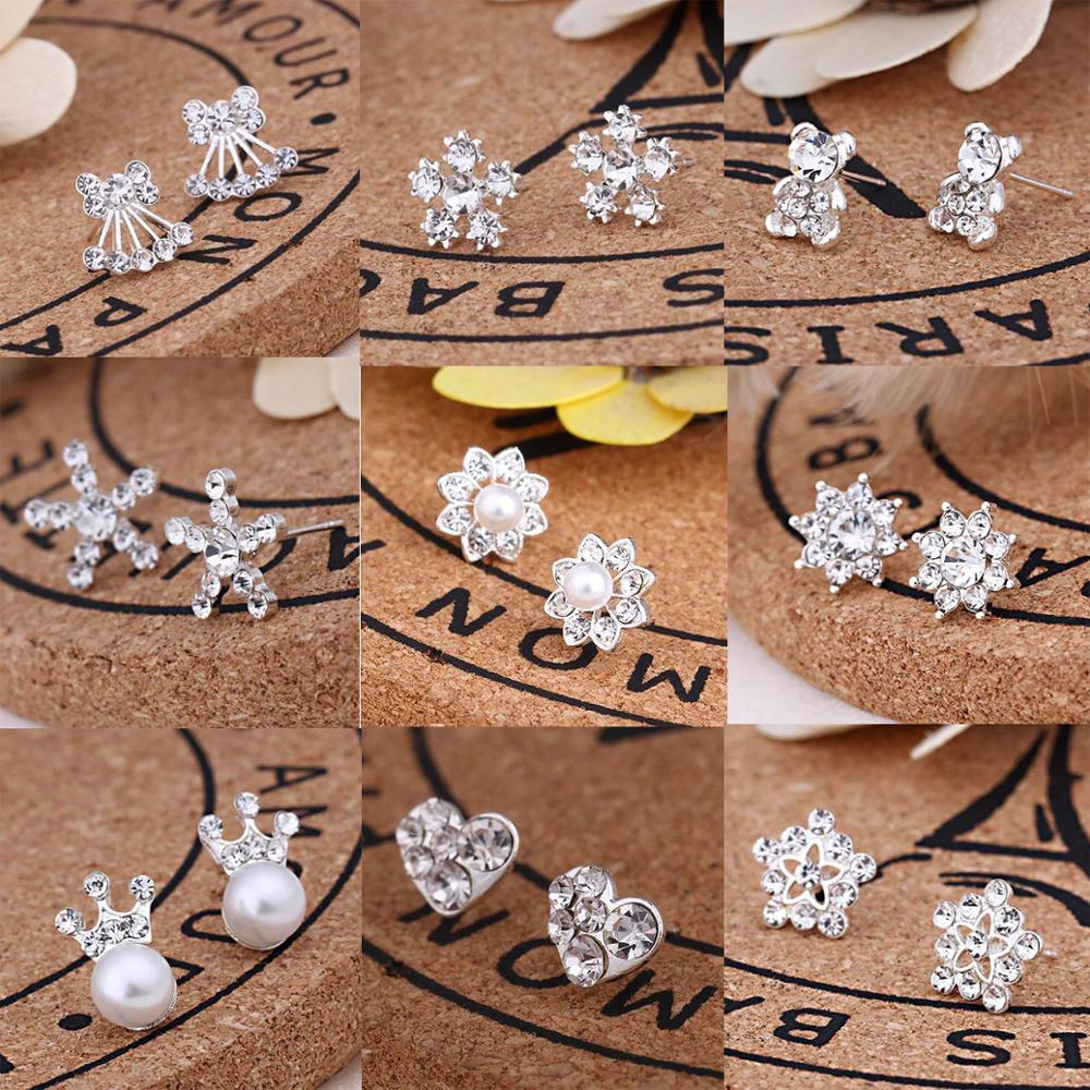 Earrings For Women Pearl Cute Fashion Girls Animal Jewelry Trend Rabbit Flower Heart Silver Fruit Cherry Butterfly