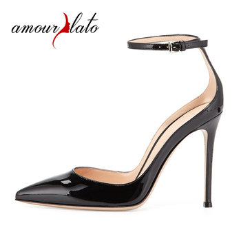Amourplato Ladies Women Fashion Ankle Strap Pumps Pointed Toe 100mm Slim High Heel Party Wedding Prom Sandals Pumps Dress Shoes