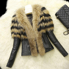 b new Faux Fur Women Winter Coat 2018 Casual Plus Size Short Fluffy Collar Leather Jacket 6XL