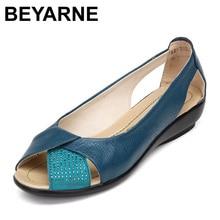 Beyarne Большие размеры 35–43 обувь из натуральной кожи с открытым носком женские сандалии на платформе мокасины sapatilhas sandalias Sapatos Femininos