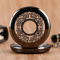 Black Steampunk Hand Winding Mechanical Pocket Watch Classic Grilles Carving Luxury Fob Pendant For Women Men