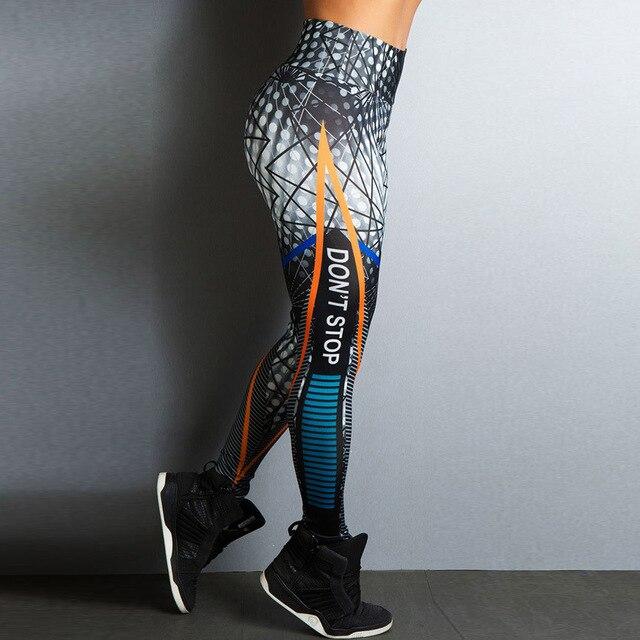 Не остановить письмо печати Фитнес Для женщин Леггинсы для женщин 3D печатных тонкий Джеггинсы Высокая Талия спортивных Леггинсы для женщин эластичные узкие длинные Брюки для девочек